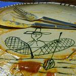 Mariposero - dibújo en un plato de artesanía local de Pátzcuaro