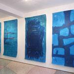 "Serie ""Vor mir - hinter mir"", Aquarelle ca. 210 x 110 cm, 2013"