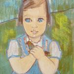 1960, Eva mit dem blauen Vogel, 50 x 70, Aquarell-Kreide