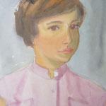1956, Frau in rosa Bluse, 32 x 42,5, Aquarell