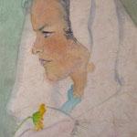 1955, Frau mit Blume, 31 x 46, Aquarell