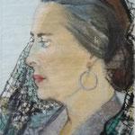 1956, Dame, 38 x 56, Aquarell