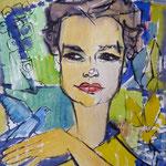 1960, Frau mit blauem Vogel, 42 x 56, Aquarell