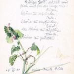 1955, Gedicht und Aquarell-Zeichnung für Nichte Ursula Deman