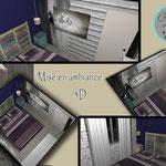 mise en ambiance 3D chambre étage sous le thème de la garrigue
