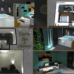 planche perspective 3d espace hammam sauna