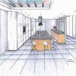 perspective cuisine béton bois laque blanche verrière entrée