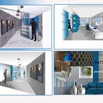 planche ambiance Bleu électrique et perspective à l'échelle