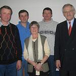 Egon Jüttner mit Wolfgang Guckert, Wilken Mampel, Regina Trösch und Wolfgang Merz (v.l.)