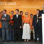 Prof. Jüttner am Rednerpult mit Klaus Dieter Reichardt, Doris Brummer, Günther Oettinger und Erwin Feike auf dem Mannheimer Marktplatz