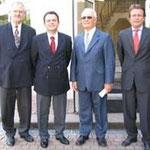 Prof. Jüttner, Botschafter Vierita, Hugo Flöhr und Reiner Boje bei Friatec (von links)