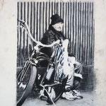 """Anja Kühnrich-Wilke, """"Zoo III"""", 2009 Linoldruck, Pastellkreide, 28 x 21 cm"""