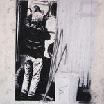 """Anja Kühnrich-Wilke, """"Zoo II"""", 2009 Linoldruck, Pastellkreide, 28,5 x 21 cm"""
