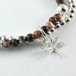 2-fach Armband mit Rhodonit und Silberperlen 4mm, mit Libelle 925er