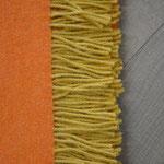 S. Fischbacher Living - Plaids/ Kuscheldecke Schurwolle Reversible Mandarine