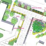 Senlis - Plan masse indiquant les différents espaces du jardin - Photoshop avec incrustation de textures manuelles