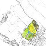Beauvais - Plan masse montrant le domaine dans son contexte - Photoshop avec fond réalisé à la main et incrustation de textures manuelles
