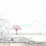 Versailles - Coupe au feutre et crayons de couleur