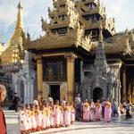 Novizen besuchen die Shwedagon - Pagode.