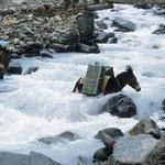 Meist sind keine Brücken vorhanden und die eiskalten Gebirgsbäche müssen durchquert werden.