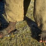 Schuhwerk eines Indiojungen vor meinem Zelt bei einer Außentemperatur von Minus 15 Grad Celsius.