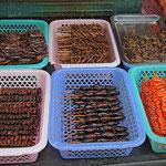 Gegrillte Chinesische Spezialitäten. Proteine in Hülle und Fülle. (Maden, Würmer, Heuschrecken etc.)
