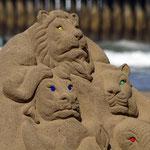 Sandskulpturen am Strand von Durban.