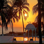 Sonnenuntergang in Puerto Escondido, Mexiko.