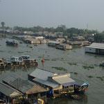Schwimmende Dörfer auf dem Mekong.