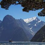 """""""Milford Sound"""" Der Naturpark mit seinem 15 km langen Fjord ist die wichtigste Touristenattraktion im Südwesten Neuseelands und gehört zum Weltnaturerbe der Unesco."""