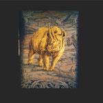 Goldeinlage Nashorn in Bulinotechnik