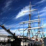 Segelschiff im Hafen von Bergen / Norwegen
