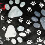 Pfötchenstoff grau/schwarz für Decken, Knochenkissen,... - Ausreichend vorrätig!