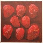Erdbeeren, 2019, Acryl auf Leinwand, 110 cm x 110 cm