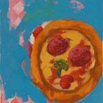 """""""Hallo, Pizza!"""" (Hej, Pizza!), 2020, Acryl auf Leinwand, 40x50 cm"""
