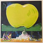 Apfel auf Rädern, 2018, Acryl auf Leinwand, 145 cmx 145 cm