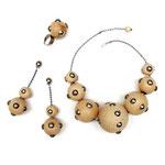"""Collection """"Mina"""" - 2014 Collier, Boucles d'oreille et Bague en bois de hêtre ciré"""