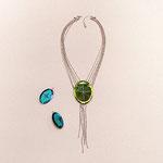 """Collection """"Odette"""" - 2005 Collier et boucles d'oreilles . Miroirs vénitiens à main coloré, gravé et biseautés. Diamantés , chaîne en argent plaqué ."""