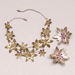 "Collection ""Hellebore lux"" - 2003 Necklace and earrings. Gently hammered brass and broken crystals."