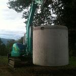 Fosse toutes eaux béton 3000 litres.