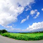 御神崎半島から見た崎枝湾。草原が気持ち良い!