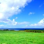御神半島から見た崎枝湾。牧草地帯か?