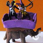 Mammut: Bullyland Mikrotiere, Reiter: Libyer von Caesar, Korb: FIMO Light
