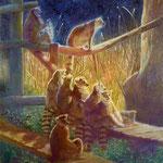 夜の訪れ(ワオキツネザル)W24.2×H33.3