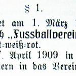 Auszug aus der Satzung von 1909