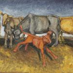 Springendes Kalb, 2020, Öl auf Leinwand, 40x60