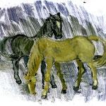 Pferde im Regen, 2011, Monotypie, 20 x 25 cm