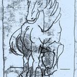 Trabendes Pferd, 2011, Monotypie, 30 x 20 cm