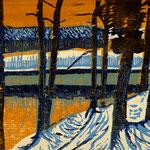 Waldsee, 2021, Farbholzschnitt, 20x29cm