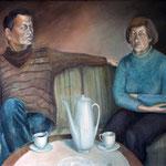 Meine Eltern, 1985, Mischtechnik auf Leinwand, 68x93cm